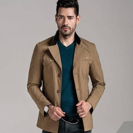 汤河之家2016新款中年男士长款风衣 韩版修身风衣薄款休闲男外套