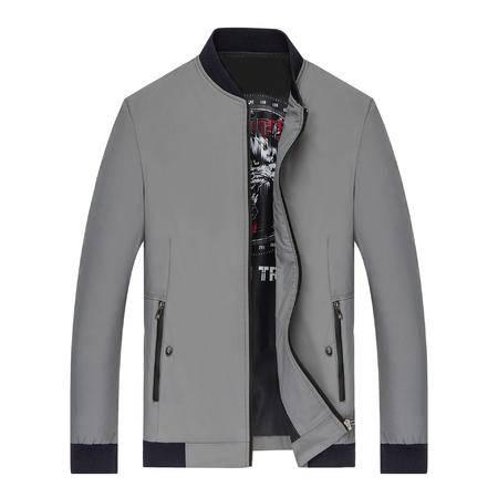 汤河之家新款2016秋冬男式夹克外套 中年男士休闲纯色修身茄克衫