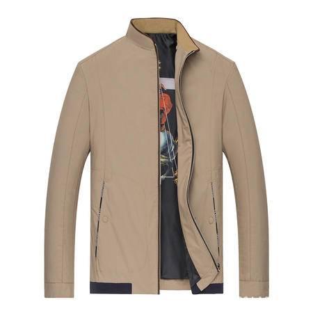 汤河之家秋冬立领纯色茄克衫中年男式商务修身砂洗薄夹克外套男装