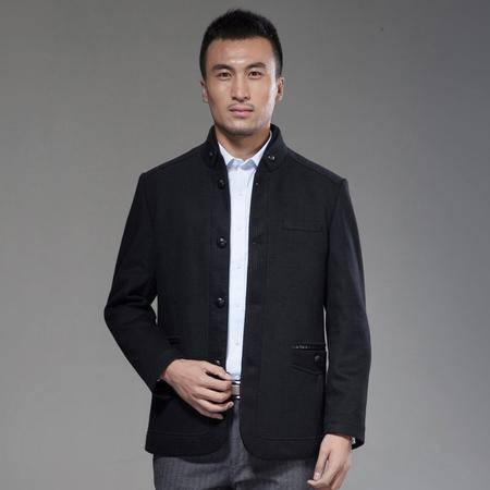 汤河之家秋冬男式休闲夹克中年商务呢外套男士单排扣立领毛呢呢子外套加厚