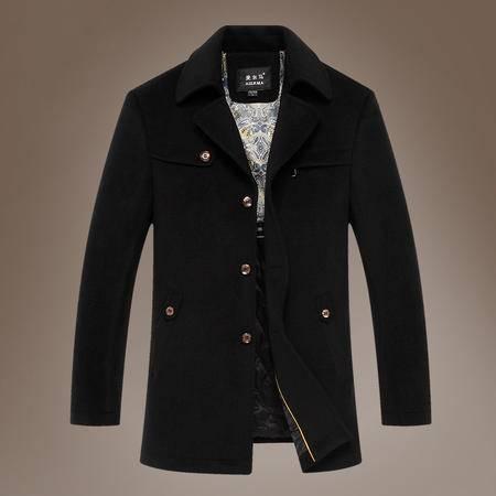 汤河之家商务毛呢大衣男士羊毛修身翻领风衣男秋冬外套