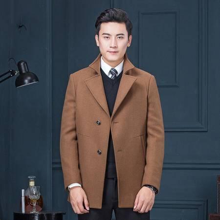 汤河之家2016冬季新款羊绒大衣男立领纯色加厚修身绵羊皮拼接羊毛大衣外套