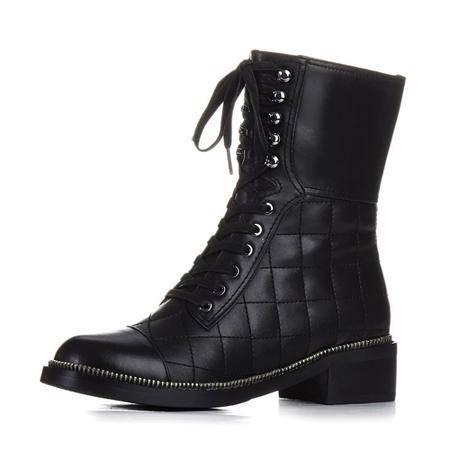 小童马 真皮 秋冬新款真皮女鞋圆头系带拉链短靴简约骑士靴中跟粗跟马丁鞋 E61