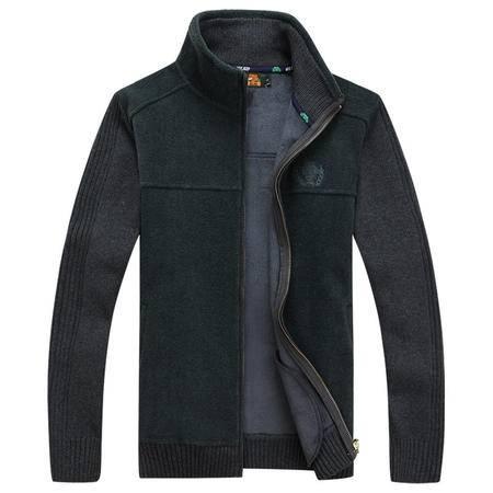 汤河之家2016战地吉普男装秋冬新品加绒加厚男士立领针织衫外套毛衣