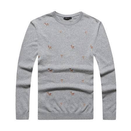 汤河之家2016秋冬新款潮流韩版修身打底男式毛衣 圆领刺绣套头男士针织衫