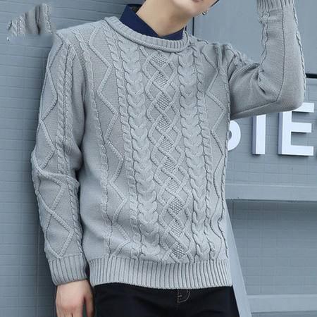 汤河之家2016秋冬新款潮流韩版修身打底男式毛衣加厚 圆领套头男士针织衫