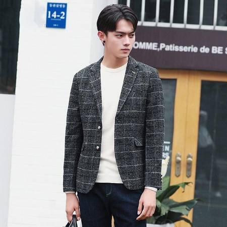 汤河之家2016秋冬季新款韩版修身毛呢男式休闲小西装英伦格子男士西服外套