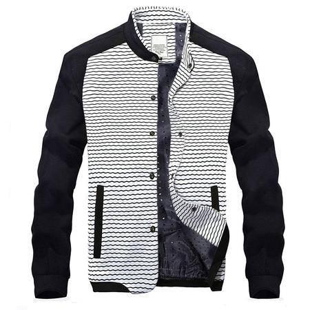 汤河之家2016秋冬新款拼色男夹克 韩版修身男式夹克 休闲立领男士夹克外套