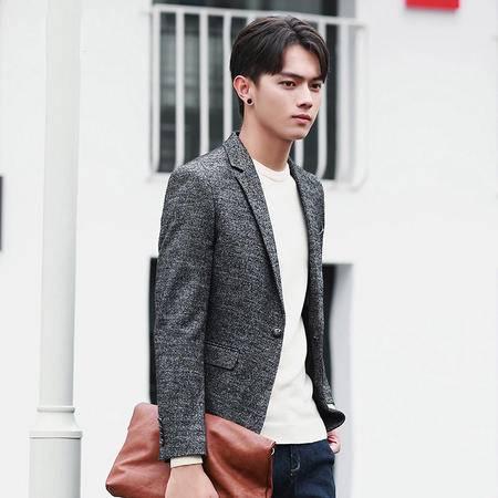 汤河之家2016秋冬季新款潮流韩版修身男式休闲小西装英伦毛呢男士西服外套