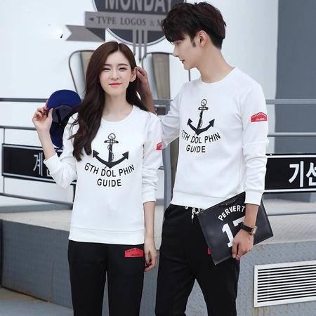 汤河之家2016秋冬季新款韩版修身男式长袖套装 印花圆领男士休闲运动套装