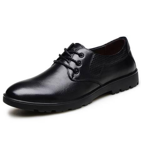 小童马 真皮 头层牛皮男士商务休闲鞋 系带真皮正装男鞋 6808