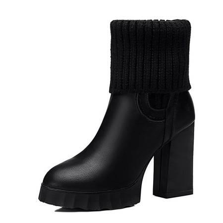 小童马 PU 厚底防水台女靴 粗跟高跟靴 针织保暖女靴子 8311