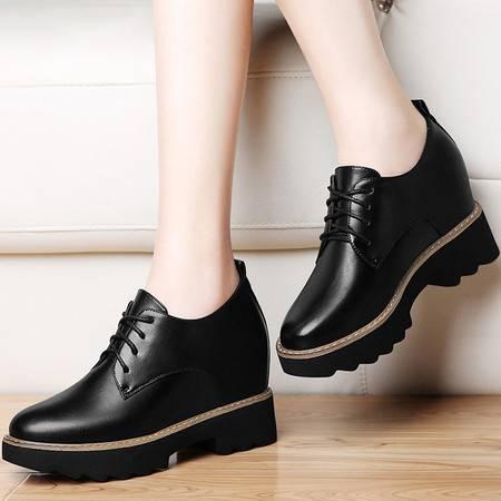 小童马 PU 女士英伦皮鞋厚底内增高休闲女鞋方跟单鞋女高跟鞋女 8495