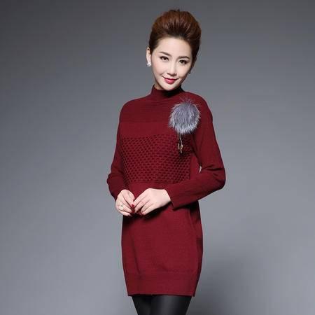 施悦名 针织棉 2016秋冬新款女装长袖针织衫纯色中长款套头修身半高领打底衫毛衣 Y6002