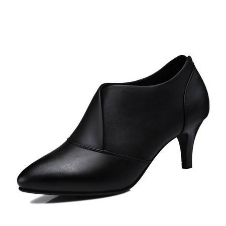 小童马 PU 尖头低帮鞋 细跟高跟鞋 套脚女鞋子 1131-1