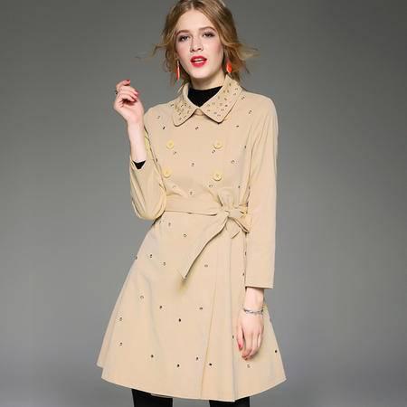 施悦名  2016秋冬新款女装 欧美时尚修身显瘦双排扣外套 纯色简约气质风衣 Z150