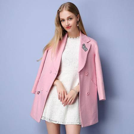 施悦名 呢料 2016冬季新款双排扣呢大衣甜美小香风毛呢外套 96730