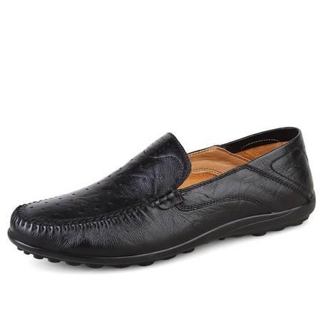 小童马 真皮 新款男士皮鞋批发头层真皮镂空套脚商务休闲男鞋  1689