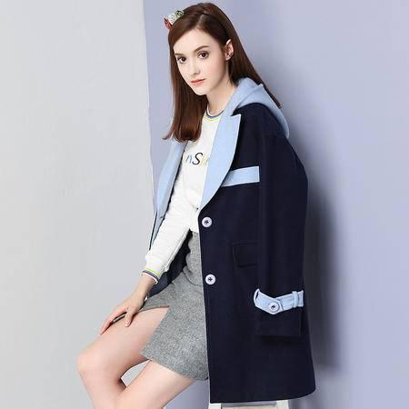 施悦名 羊毛 2016冬季新品单排扣呢大衣撞色连帽毛呢外套 96788