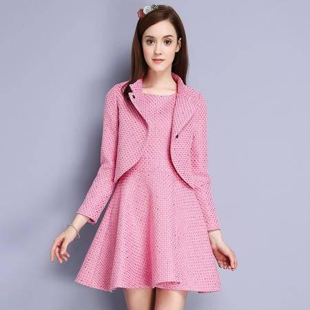施悦名 粗花呢 2016冬季新款气质名媛百褶裙两件套毛呢连衣裙 86823