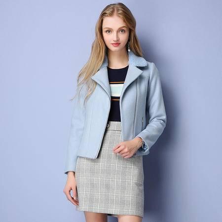 施悦名 呢料 2016冬季新款拉链短款外套气质欧美毛呢外套 96729