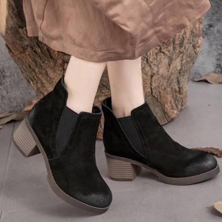 小童马 真皮 2016真皮女靴粗跟切尔西短靴及踝靴磨砂牛皮OL职业单靴 T3271