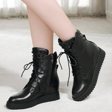 小童马 真皮 2016年秋冬季新款真皮女鞋头层擦色牛皮铆钉女靴短靴马丁靴 K15DA52