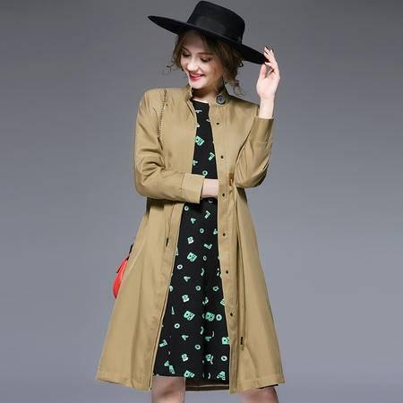 施悦名2016秋冬新款欧美大牌单排扣加长款女士风衣气质修身大衣外套 6100