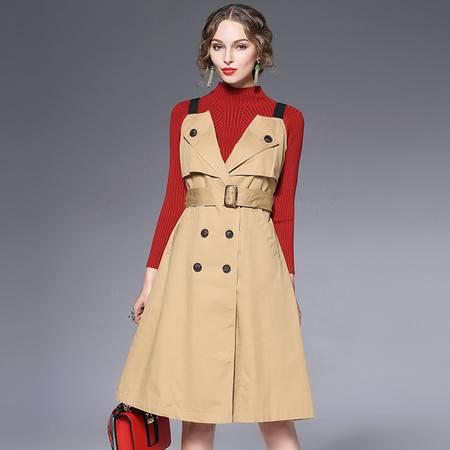 施悦名 棉 欧洲站英伦风时尚大牌同款街拍背带裙翻领双排扣大摆连衣裙 6178