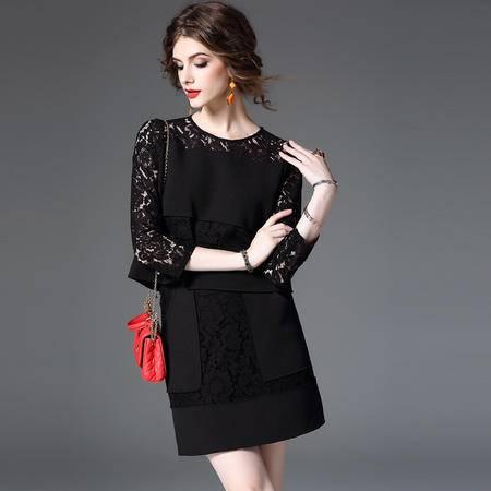 施悦名 2016秋冬新款欧美女装 欧洲站时尚拼接长袖+短裙两件套套装 Q8503