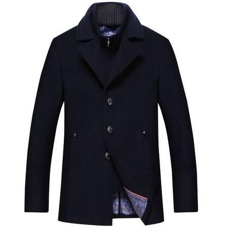 汤河之家  羊毛  新款中年男士毛呢大衣 针织螺纹内搭 18618