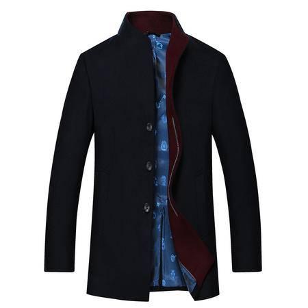 汤河之家  羊毛 高档品质 新款中年男士毛呢大衣 三粒扣立翻领秋冬外套 18606
