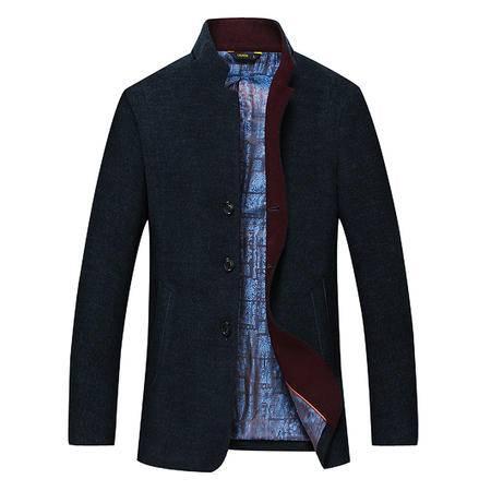 汤河之家 羊毛 高档品质 新款中年男士大衣毛呢外套秋冬加厚 针织毛呢款 18608