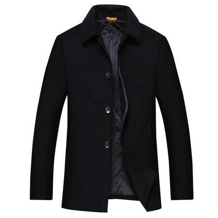 汤河之家 毛呢 新款中年男士毛呢大衣 中长款翻领大衣经典公务员外套 18605
