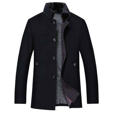 汤河之家 羊毛 高档品质纯羊绒毛呢大衣新款中年男士毛呢外套真狐狸 18612