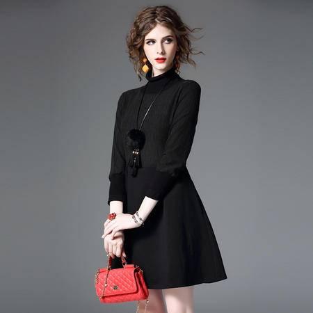 施悦名 欧洲站2016秋冬女装新款欧美时尚拼接高领长袖连衣裙 Q8516
