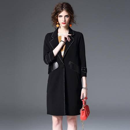 施悦名 棉 欧洲站2016秋冬新款女装 欧美时尚长袖翻领拼接外套大衣女 Q850