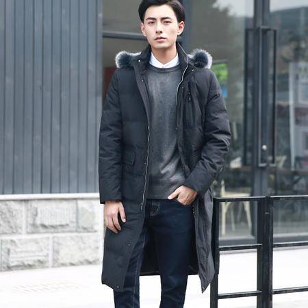 汤河之家2016冬季新款男式韩版过膝加长款羽绒服男男士时尚连帽毛领羽绒服 085
