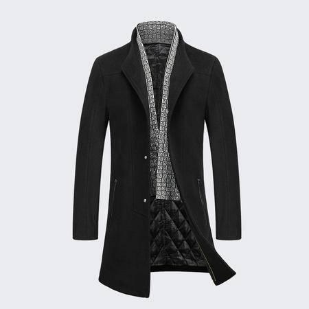汤河之家 羊毛 2016冬季新款绅士男装羊毛呢大衣男 单排扣修身商务男式风衣外套 8612