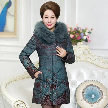 施悦名冬装新款中老年羽绒服女中长款加厚大码妈妈装中年女装女式真毛领 B2118-1520