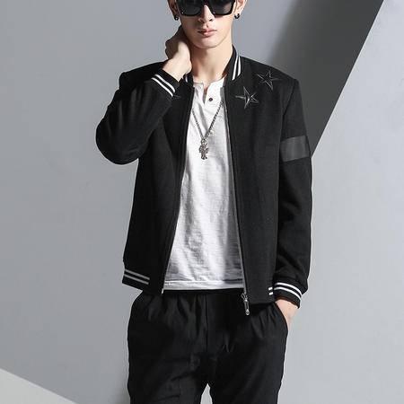 汤河之家2016秋冬新款韩版青年男士毛呢夹克衫 纯色立领中款修身棒球服 B880
