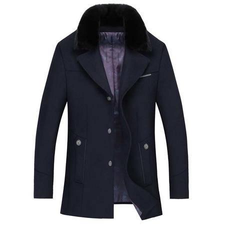 汤河之家 2016冬季新款毛领时尚修身小毛呢男式商务大衣男毛呢男式外套 1659