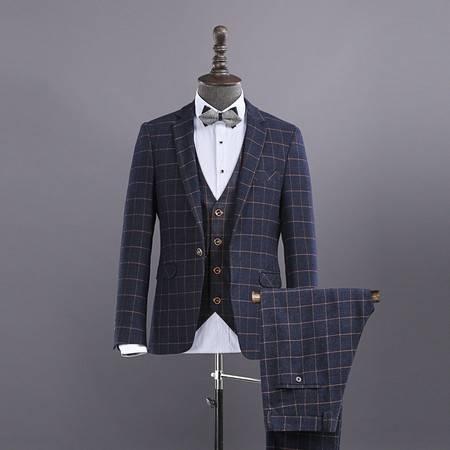 汤河之家 2016新品男式英伦西服 修身纯色男士西装新郎装 伴郎装三件套 8631