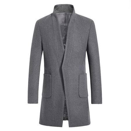 汤河之家 016冬季新款男式时尚长款毛呢风衣 男装韩版休闲大码呢子外套  16028