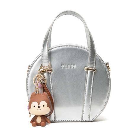 小童马 2016韩版时尚单肩斜挎包新款镜面小圆包潮流挂件手提包 KS2B