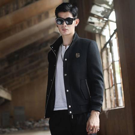汤河之家 2016秋冬新款韩版青年男士毛呢夹克衫 时尚商务休闲多用棒球服 B8803