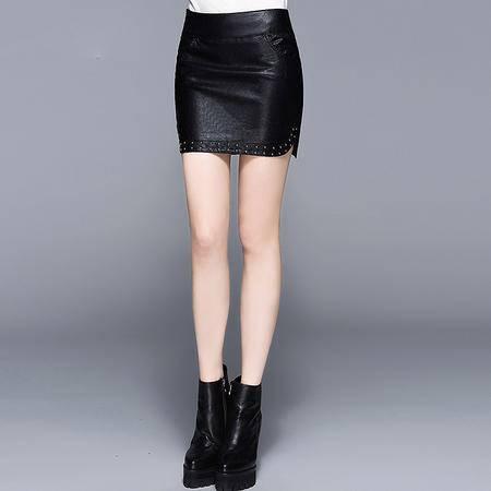 施悦名 2016欧美新款皮包臀短裙 柳钉时尚性感包臀女一步裙 LFF1607172E