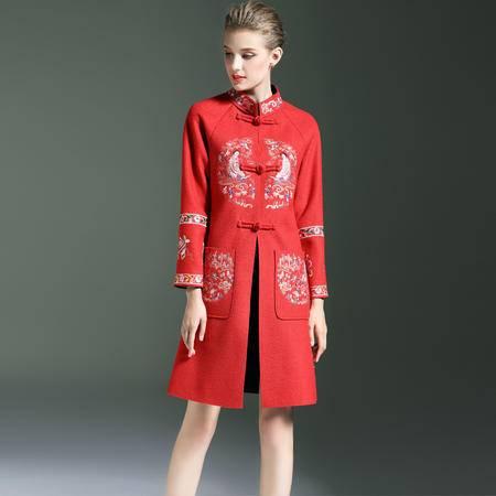 施悦名 冬季新款中国民族风女装嫦娥重工刺绣风衣妮子大衣女士修身外套 8103
