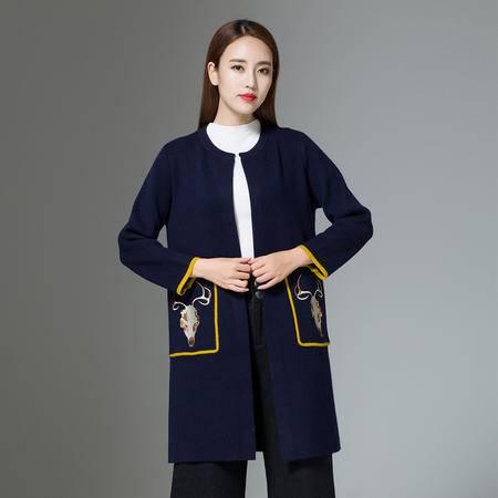 施悦名 2016秋冬新品韩版动物图案针织开衫 女式修身圆领貂绒中长款大衣 7-Z6818