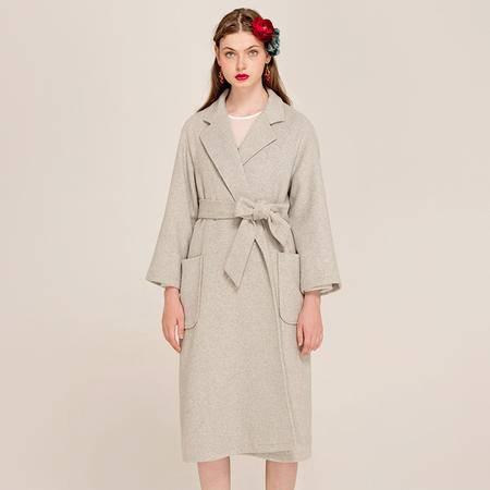 施悦名 2016早秋新款 重工羊毛呢灰色廓形大衣外套 9453
